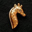 Vintage Giraffe Brooch Black Enamel Bronzed Gold Tone Pin