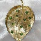 Vintage Brooch Gold Tone Leaf Green Rhinestones