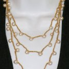 Vintage Necklace Flapper Opera Length Pearl Beads Woven Gold Thread Chain