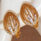 Vintage Earrings Rhinestones Gold Tone Roped Metal Clip On