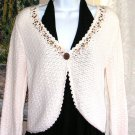 Crochet Cardigan Sequins Beads Cream Cotton Blend