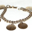 Vintage Charm Bracelet Six of Ten Commandments Engraved Disc Charms Gold Tone Metal Link Chain