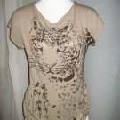 Tan Cheetah Goldleaf Butterfly-Back Top