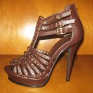 "Brown 5"" Gladiator Platform Heels"