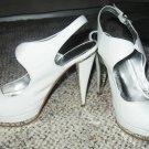 White Pinup PeepToe Heels