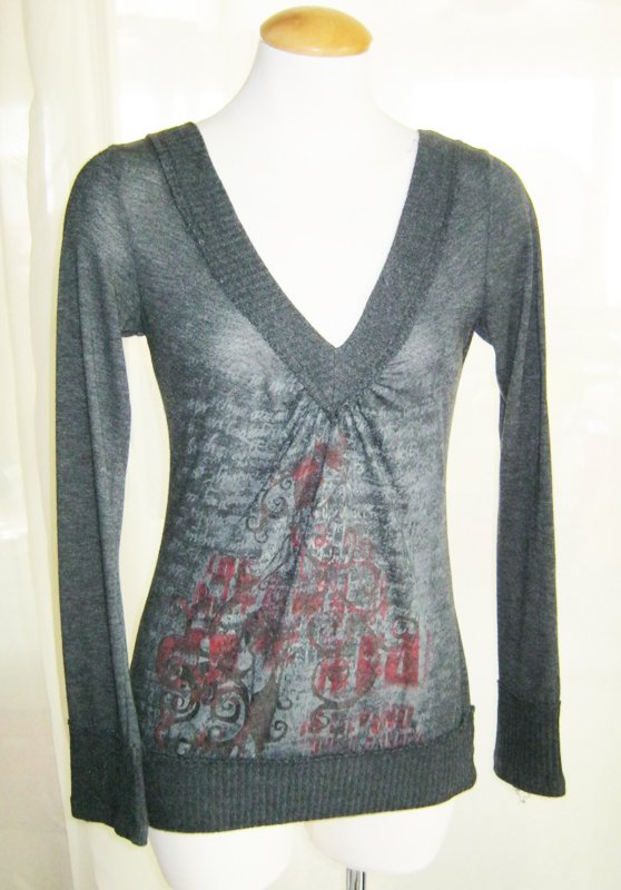 Gray Longsleeved V-Neck Sweater