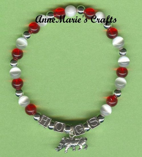 UNIVERSITY OF ARKANSAS RAZORBACK CHARM BRACELET