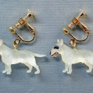 New Bull Terrier dog clip-on earring Brown White