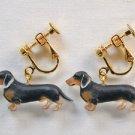 New Dachshund dog clip-on earring Brown Black
