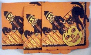12 HALLOWEEN NAPKINS Black Cat, Pumpkin, Jack-O-Lantern