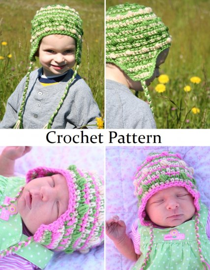 Free Crochet Pattern Baby Reindeer Hat : Crochet Pattern for Baby Bobble Beanie - Sizes Newborn-Toddler
