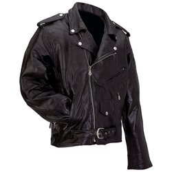 Diamond Plate� Rock Design Genuine Buffalo Leather Motorcycle Jacket XL