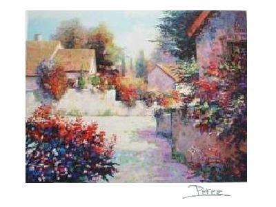 VILLAGE VIEW III Fine Art Lithograph Print Signed by Alex Perez COA