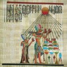 PHARAOH & QUEEN WORSHIP ATON - Handmade on Egyptian Fine Art Papyrus - Direct from EGYPT
