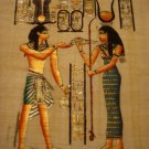 PHARAOH & GODDESS HATHOR - Handmade on Egyptian Fine Art Papyrus - Direct from EGYPT