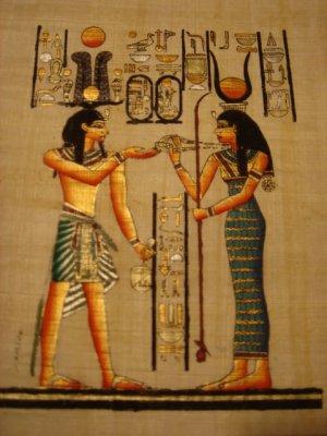 PHARAOH & GODDESS HATHOR - Handmade on Egyptian Fine Art Papyrus - Direct from EGYPT