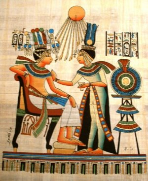 PHARAOH & QUEEN SUN GOD ATEN - Handmade on Egyptian Fine Art Papyrus - Direct from EGYPT