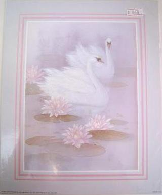 TWO WHITE SWANS Fine Art Lithograph Print Repro by Artist T. C. Chiu