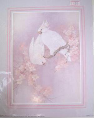 TWO WHITE COCKATOOS IN A MAGNOLIA TREE Fine Art Lithograph Print Repro by Artist T. C. Chiu