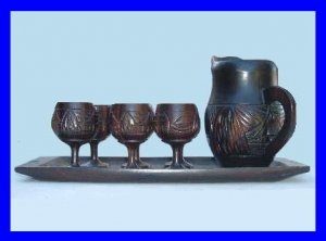 Decorative Mini Teakwood 6 Goblets Water Pitcher Tray Set - Handmade Carved Polynesian Design