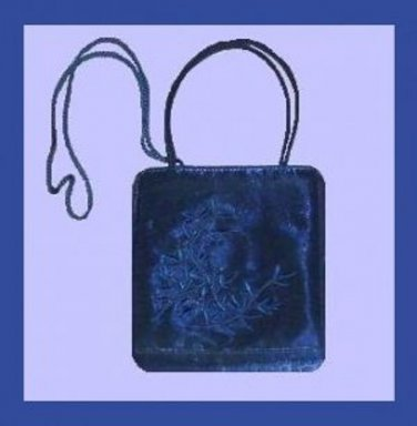 Royal Blue Satin & Embroidered Leaf Design Handmade Purse Evening Bag Handbag