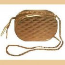 Gold Oval Metallic & Soft Leather Purse Handbag Evening Bag