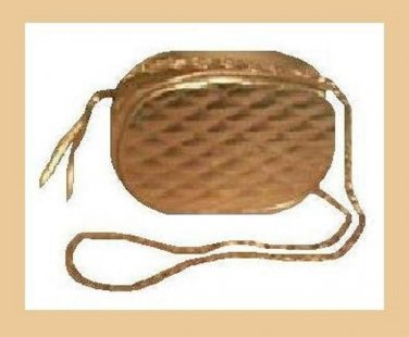 Gold Oval Metallic & Soft Leather Purse Handbag Evening Bag