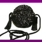 Black Sequins Silky Tassels and Beaded Round Purse Handbag Evening Bag