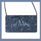 Black Bead and Soft Black Satin Purse Handbag Evening Bag