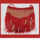 Fiery Red Beads Sparkling Iridescent Icicle Sequins Handmade Purse Handbag Evening Bag