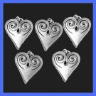 "Lot of 5 Vintage 2"" inches long Beaded Scroll Pewter Heart Pendants"