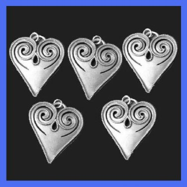 """Lot of 5 Vintage 2"""" inches long Beaded Scroll Pewter Heart Pendants"""