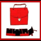 RED LEATHER & BLACK SUEDE JEWELRY TRAVEL CASE BOX WITH 3 COMPARTMENTS - NEW!