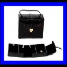 BLACK LEATHER & SUEDE JEWELRY TRAVEL CASE  BOX WITH 3 COMPARTMENTS - NEW!