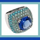 SAPPHIRE BLUE TURQUOISE TEAL CZ STERLING SILVER DOME RING - NEW!