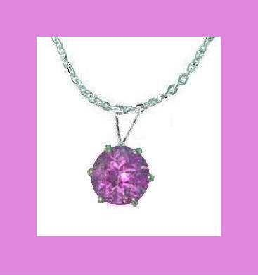 2.00ct Round AMETHYST & 22 Inch STERLING SILVER CHAIN NECKLACE - NEW!