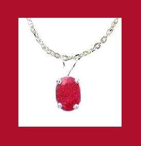 1.50ct RUBY Oval Cut PENDANT & 22 Inch STERLING SILVER CHAIN NECKLACE - NEW!