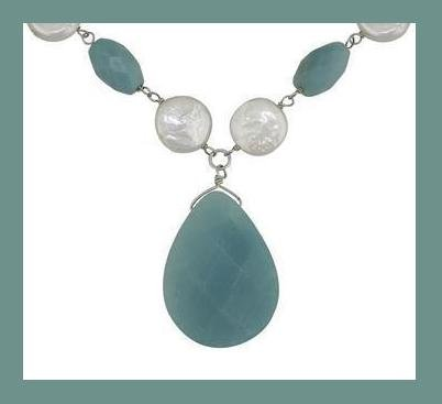 TEARDROP AMAZONITE FACETED GEMSTONE & WHITE BUTTON GENUINE PEARL & STERLING SILVER 18 Inch NECKLACE