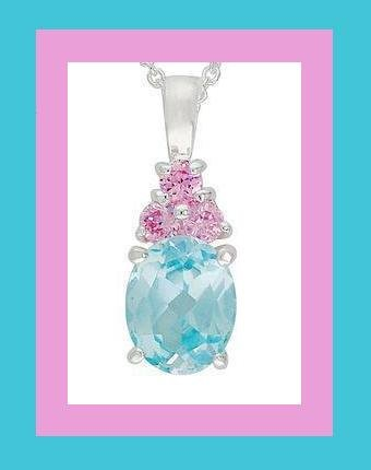 SPARKLING BLUE & PINK CZ PENDANT & STERLING SILVER 18 Inch CHAIN NECKLACE