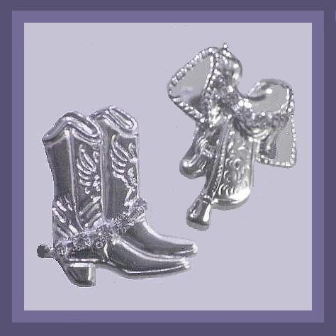 Rhinestone & Silver Cowboy Rodeo Boots & Saddle 2 inch Chandelier Post Earrings