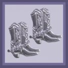 Rhinestone & Silver Cowboy Rodeo Boots 2 inch Chandelier Post Earrings