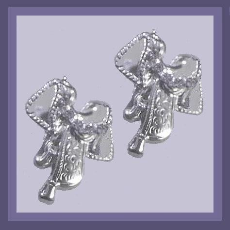 Rhinestone & Silver Cowboy Rodeo Saddle 2 inch Chandelier Post Earrings