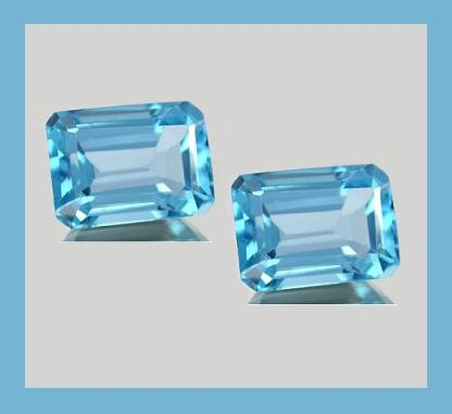 4.00ctw SWISS BLUE TOPAZ Emerald Cut 8x6mm Faceted Loose Gemstone Set - 100% Real Natural Genuine
