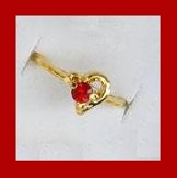 Sparkling 1/4 Carat Brilliant Cut Blood Red RUBY & Heart Shaped Gold Tone CZ Ring