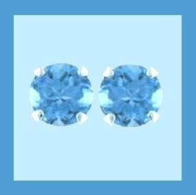 1.00ct Round Natural Swiss Sky Blue TOPAZ Gemstone Sterling Silver Stud  Earrings