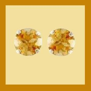 1.00ct Round Natural Golden CITRINE Gemstone Sterling Silver Stud Earrings