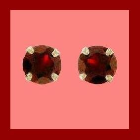 1.00ct Round Natural Red GARNET Gemstone Sterling Silver Stud Earrings
