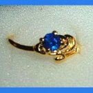 Beautiful Round Blue SAPPHIRE CZ & Ocean Wave Design Gold Tone Ring