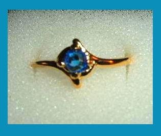 Sparkling Round Blue SAPPHIRE CZ & Double V Shaped Design Gold Tone Ring