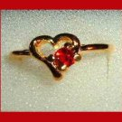 Brilliant Round Cut Blood Red RUBY CZ & Heart Shaped Gold Tone Ring